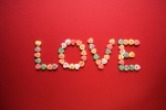 Candy spelling out love.